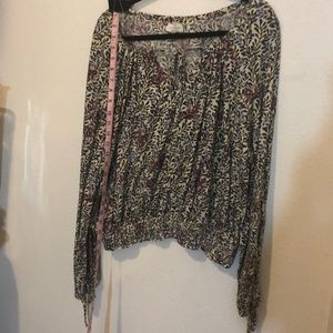 Lucky Brand XL Floral Peasant Elastic Smocking